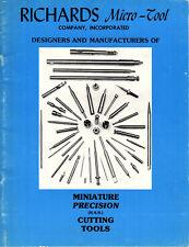 Miniature Precision Cutting Tools 1980s Catalog Richard Micro-Tool Co Drills Etc