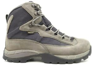 LL Bean Logo Gray Leather GTX Lace Up Hiking Ankle Boots Shoes Men's 8 W