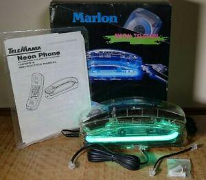 RARE Vintage 1991 Gabrielle Marlon GREEN NEON Phone TeleMania - Works!