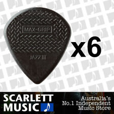 6 x Jim Dunlop Max Grip Jazz 3 Black Stiffo Gauge Guitar Picks *NEW* Jazz III
