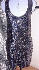 NEW River Island  - Black Sequin Sleeveless Club Dress Size 12 - Euro 38 Smart