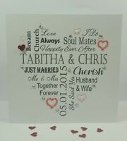 Personalised Handmade Wedding Bride Groom Keepsake Word Art Card