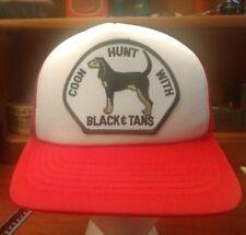 Vtg Coon Hunt W/ Black & Tans Dog Snapback Hat/Cap Mesh Back Trucker RED