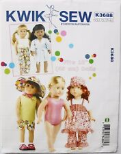 """Kwik Sew 3688 Playtime 18"""" Doll Clothes Sewing Pattern"""