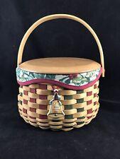Longaberger 2003 Christmas Collection Caroling Basket w/Liner, Lid, & Tie On