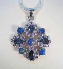 5.80 CTW RAINBOW FIRE OPAL, IOLITE, RUBY NECKLACE 14k WHITE GOLD over 925 SILVER
