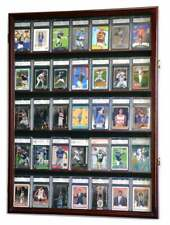 35 Graded Sport Cards / Collectible Card Display Case Wall Cabinet w/98% UV Door
