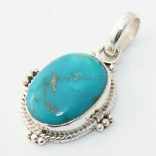 925 Sterling Silver Arizona Turquoise Pendant Necklace Jewelry S 1.5""