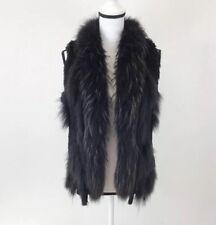 Linda Richards Luxury Black Rabbit Raccoon Fur Vest Size Small MSRP $458