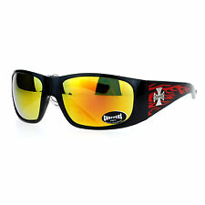 Choppers Flame Sunglasses Wrap Around Shield Frame Biker Shades UV 400 Black Red