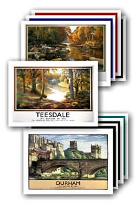 COUNTY DURHAM & TEESDALE - TRAVEL POSTER POSTCARD SET # 1