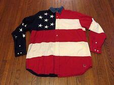 Men's VTG 90's Tommy Hilfiger Big Logo USA Flag Button Down Denim Shirt sz M