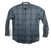 Zanella Mens Gray Geometric Design Long Sleeve Shirt Size Large Made In Italy