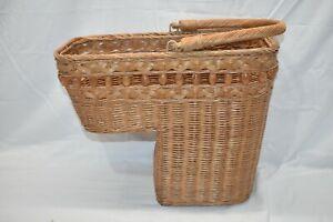Vintage Wicker Stair Step Basket Organizer with Handle