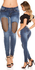 Womens Ripped Skinny Jeans 12 EU 40 Fishnet Mesh Cut Out Thigh Washed Pants