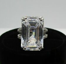 36CT Large Emerald Cut CZ Solitaire Engagement Wedding Women's Ring 925 Silver