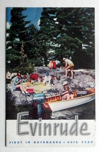 1951 EVINRUDE OUTBOARD BOAT MOTORS Big Color Brochure in MINT Condition