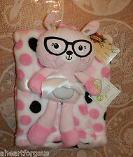 BABY GEAR BLANKET & FIRST TOY LOT 2 POLKA DOTS BUNNY RABBIT W/ GLASSES PINK GIRL