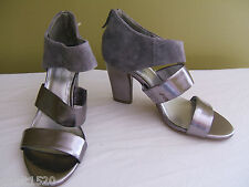 NEW! BCBGeneration Gorgeous Leather Suede Orianthi Silver Heels Sandals 7 B $128