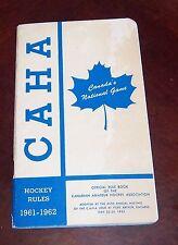 CAHA Hockey rules  1961-62 Canada's National Game