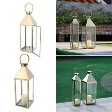 Garden Large Metal Candle Holder Outdoor Hurricane Lanterns Windproof Lamp Glass