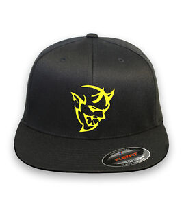 Dodge Challenger Demon  FLEXFIT HAT CURVED or FLAT BILL *FREE SHIPPING in BOX*