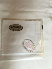 Monogrammed Handkerchief with pink letter Q in floral wreath. new in packet