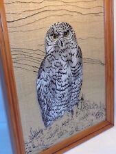 Vtg Reverse Glass Burlap Snow Owl Painting 70s 80s Mod Boho Hippie Wildlife Art