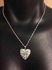 "Sterling Silver Heart ❤️ Locket Necklace 9"" Filigree"