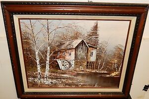 CAUFIELD WATERMILL OIL ON CANVAS LANDSCAPE PAINTING