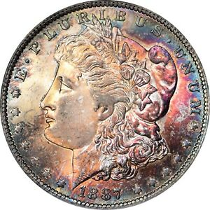 1887-O Toned Morgan Dollar ICG 63 Vibrant toner