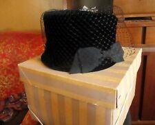 """IN BOX True Vtg 50s UNION MADE VELOUR/VELVET 5"""" TALL Pillbox Hat 21"""