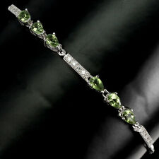 Unheated Pear Green Apatite 5x3mm Cz 925 Sterling Silver Bracelet 9 Inches