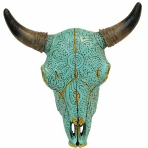Resin Wall Sculptures Turquoise Floral Tribal Carved Bull Skull Hanging