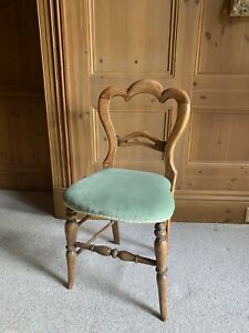 Antique Upholestered Old Wooden Chair Pair Available