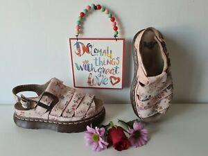 Doc Dr Martens fisherman sandals platform double sole floral UK 4 EU 37 US 6