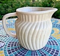 Vintage Stoneware Pitcher Primitive with Crazing Cream Colored Unsigned