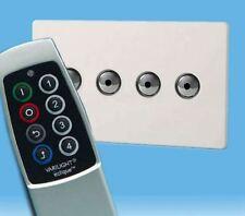 V-Pro Ir, 4 Gang Remoto/Toque Dimmer LED, control remoto de escena sin tornillos Premium Blanco Y