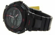 NEW Q&Q BY CITIZEN JAPAN MEN'S SPORT WATCH BLACK DUAL TIME RUBBER BAND