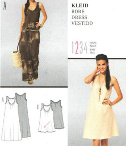 NEW Burda 7373 Gathered Neck and Armholes Above Knee or Maxi Dress Pattern 8-20