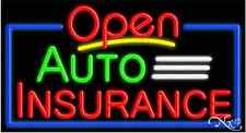 "New ""Open Auto Insurance"" 37x20x3 Border Real Neon Sign W/Custom Options 15452"
