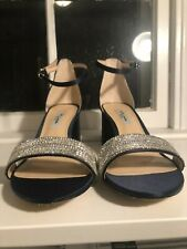 Nina Elenora Navy Open Toed Heels with some Sparkle Size 8 with Original Box