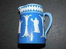 DUDSON BROTHERS HANLEY TWO TONE BLUE JUG WITH WHITE RELIEF CLASSICAL FIGURES