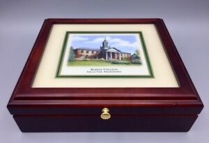 Babson College Babson Park Massachusetts Keepsake Box Cherry Wood Glass Mirrored