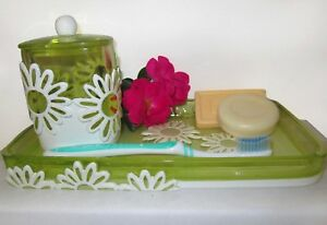 Green Bathroom Soap Tray Plate & Jar Set Cotton Balls Tooth Brush Cup Flower