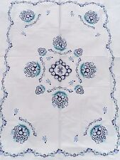 Girls Floral Garland Cotton Duvet White Blue Aqua Periwinkle Twin Size