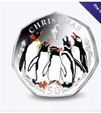 FALKLANDS CHRISTMAS PENGUIN 50P COLOURED CUPRO-NICKEL DIAMOND FINISH