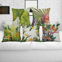 Tropical Flowers Birds Waist Cushion Cover Pillow Case Cotton Linen Home Decor