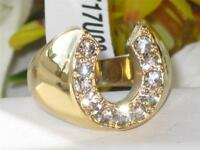 17 MENS MANS 1CT LUCKY HORSE SHOE RING SIMULATED DIAMOND RING CLASSY GOLD STEEL