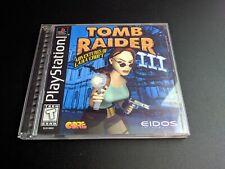 Tomb Raider III Adventures of Lara Croft Black Label Blue Playstation 1 PS1 MINT